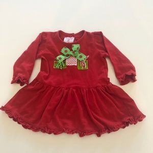 Mud Pie red Christmas Holiday dress sz 0-6 months